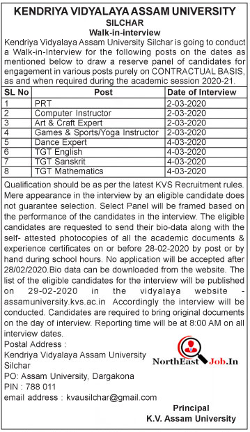 Kendriya Vidyalaya Assam University Recruitment 2020: PRT/Computer Instructor/Others Vacancies