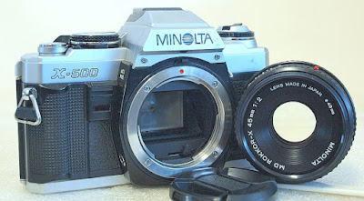 Minolta X-500 (Chrome) Body #051, Minolta MD Rokkor-X 45mm 1:2 #732