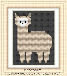 Alpaca, Free and easy printable cross stitch pattern