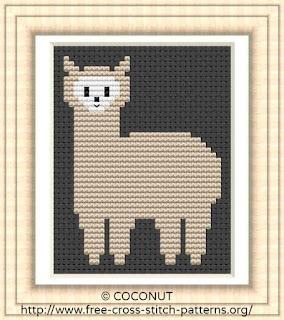 Alpaca, Free and easy printable cross stitch pattern