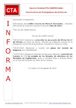 C.T.A. INFORMA CRÉDITO HORARIO MANUEL FERNANDEZ, JULIO 2021