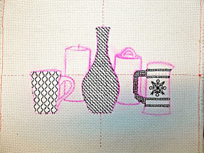 Blackwork embroidery, Step 3: the Cup
