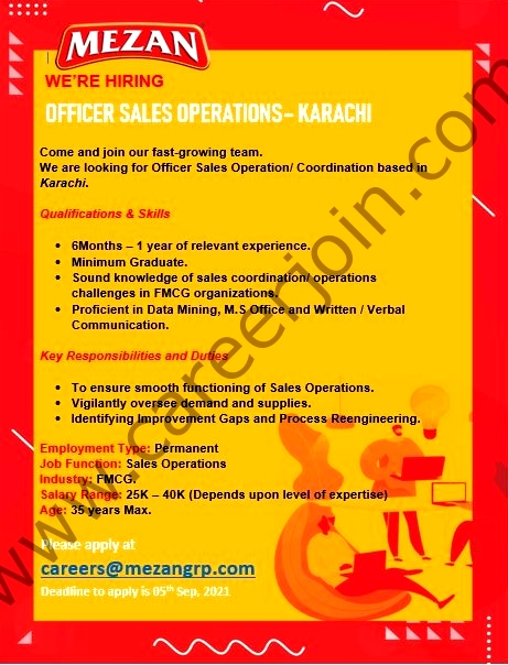 Mezan Group Latest  Jobs Officer Sales Operations 2021