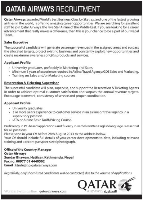 Career Opportunities in Qatar Airways   Jobs in Nepal
