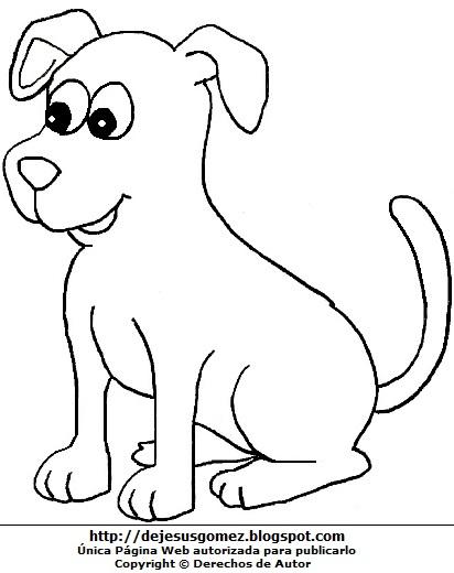 Imagen de perro sentado para colorear, pintar o imprimir para niños. Dibujo de un perro de Jesus Gómez