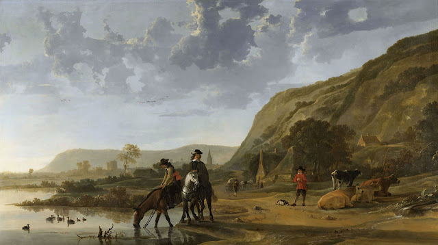 Альберт Кёйп - Речной пейзаж с всадниками. 1653-57