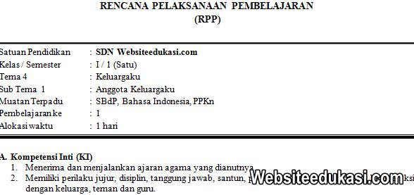 RPP Kelas 1 Tema 4 Kurikulum 2013 Revisi 2019