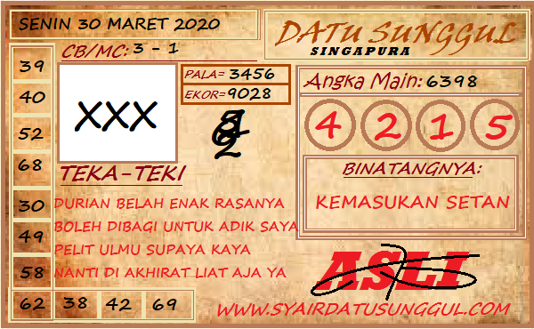Prediksi SGP Senin 30 Maret 2020 - Syair Datu Sunggul SGP