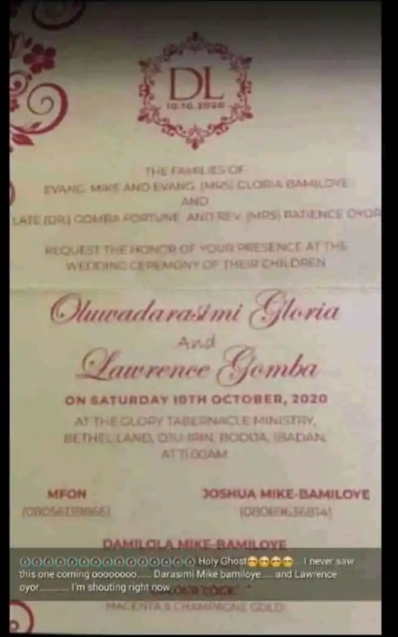 Lawrence Oyor is getting Married to Mike - Bamiloye's daughter ,Darasimi