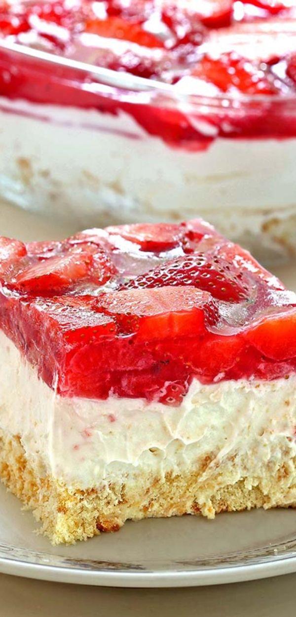 No Bake Strawberry Heaven Cake