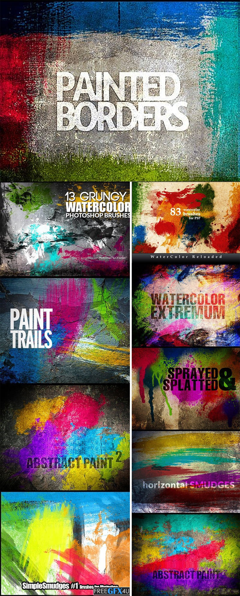 200 Watercolor Brushes Collection