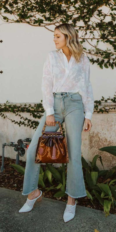 Looking forward to walking your workspace with style? Check out these 24 Stylish Summer Work Outfits for Women that are Office-friendly. Work Wear via higiggle.com | white shirt + jeans | #summeroutfits #office #workoutfits #jeans