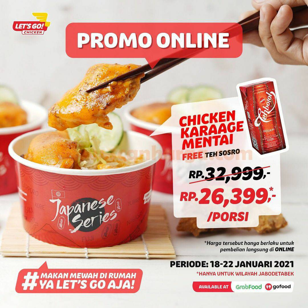 Let's Go Chicken Promo GRATIS Teh Sosro setiap pembelian Chicken Karaage Mentai