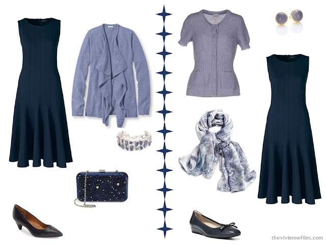 Two ways to wear a navy dress with lavender purple