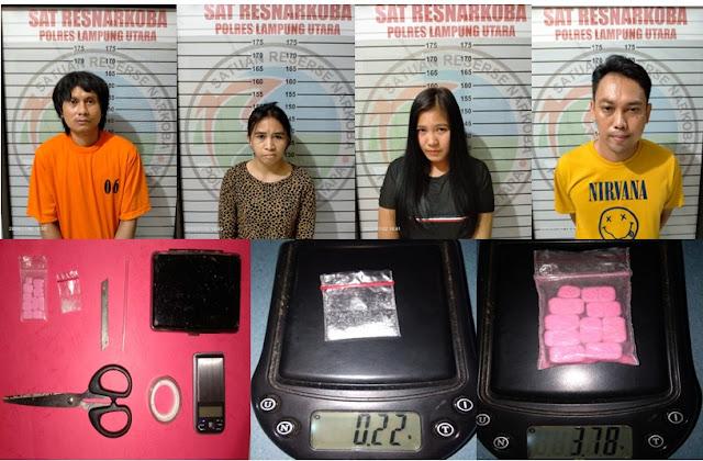 Empat Pelaku Penyalahgunaan Narkoba Diamankan Satres Narkoba Polres Lampung Utara