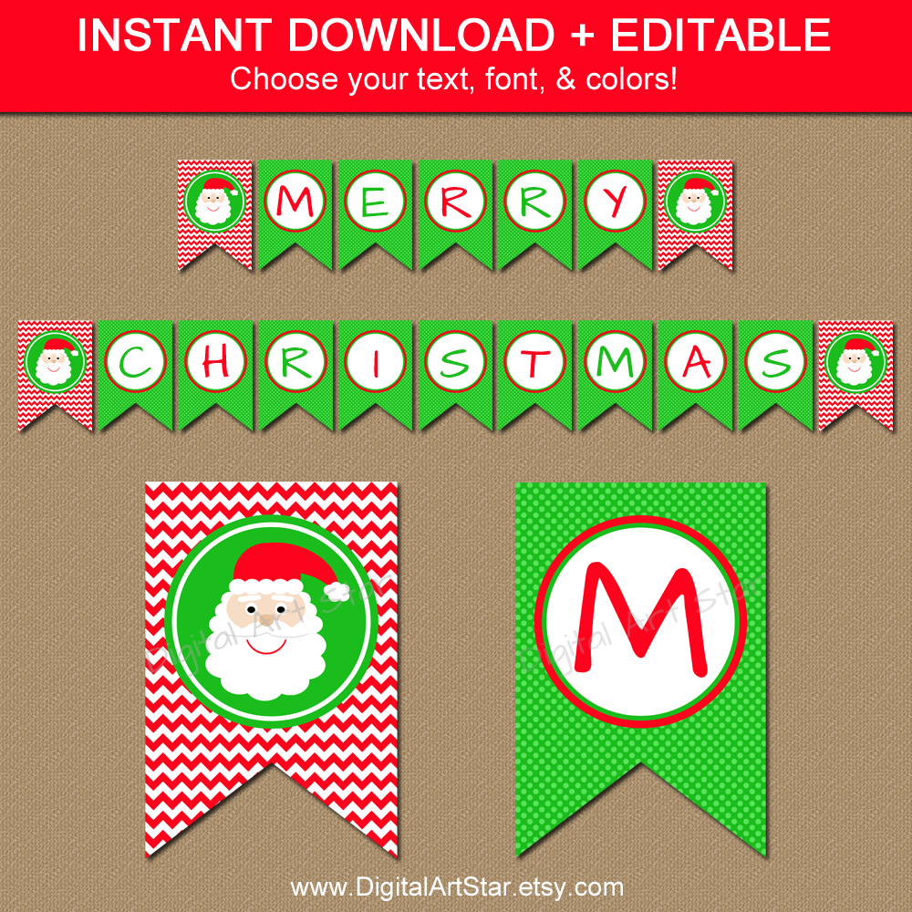 Printable Christmas Banner with Santa Spacers