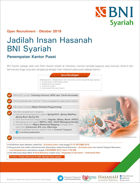 Lowongan Kerja BNI Syariah Oktober 2019