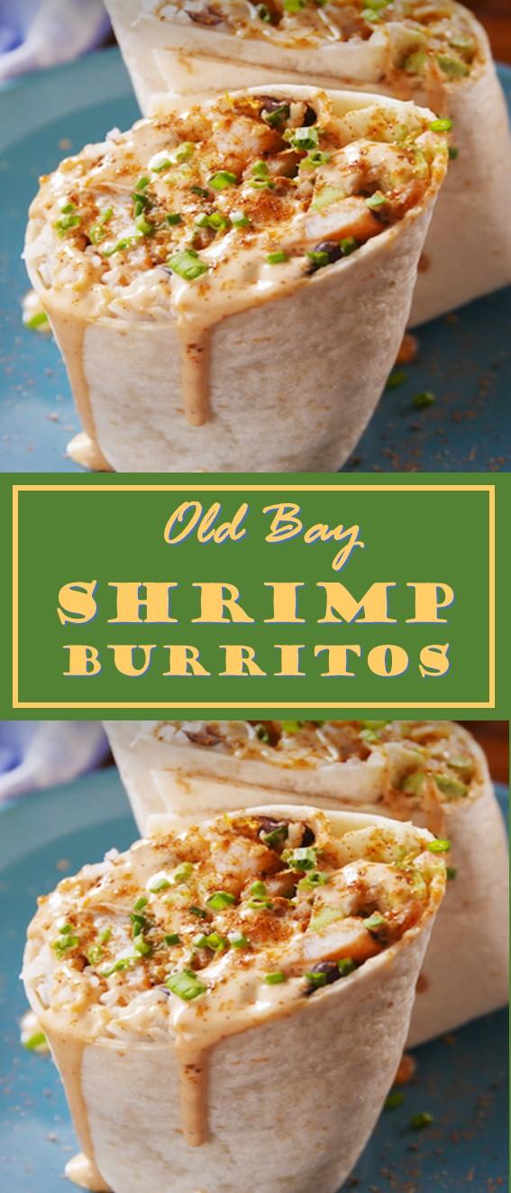 Old Bay Shrimp Burritos Recipe #Burritos #Shrimp