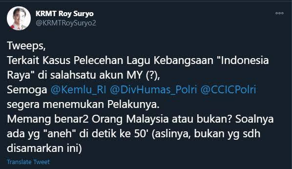 Parodi Indonesia Raya, Roy Suryo Cium Keanehan: Benar Orang Malaysia?