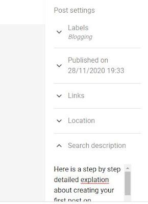 Blogger Post Setting