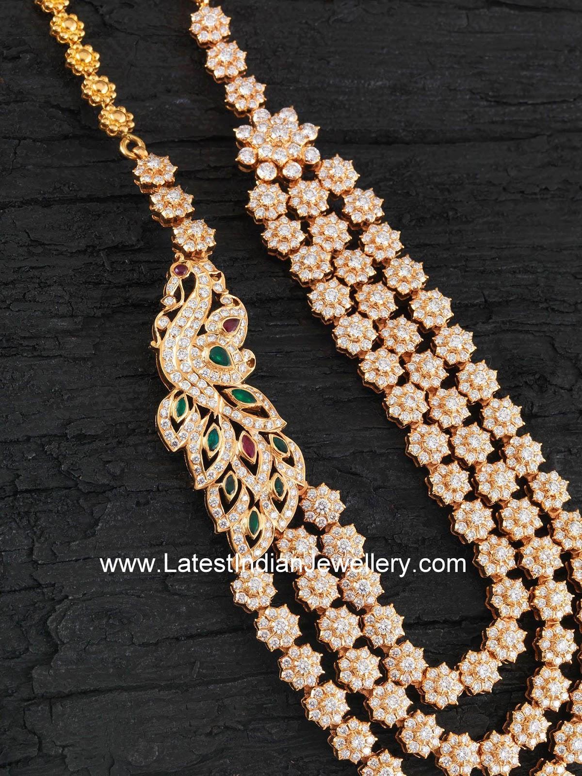 Peacock Side Pendant Diamond Haram Latest Indian