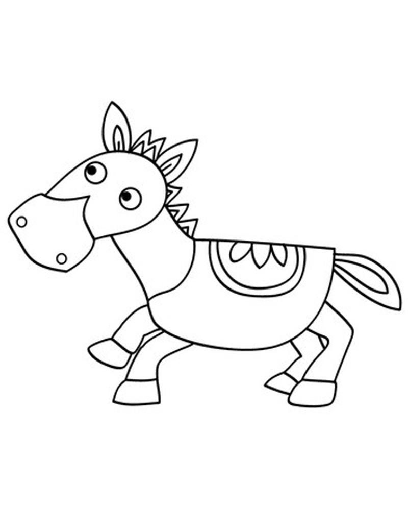 Gambar Mewarnai Kuda Poni Untuk Anak Paud Dan Tk