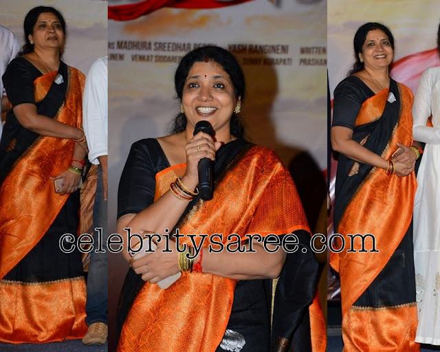 Jeevitha Black Orange Silk Saree