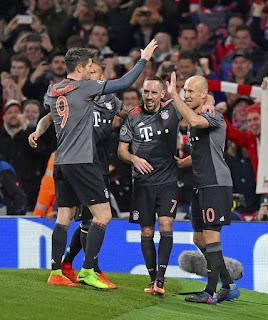Bayern celebrating 5 goals at Emirates stadium on 7th March 2017. PHOTO | Courtesy