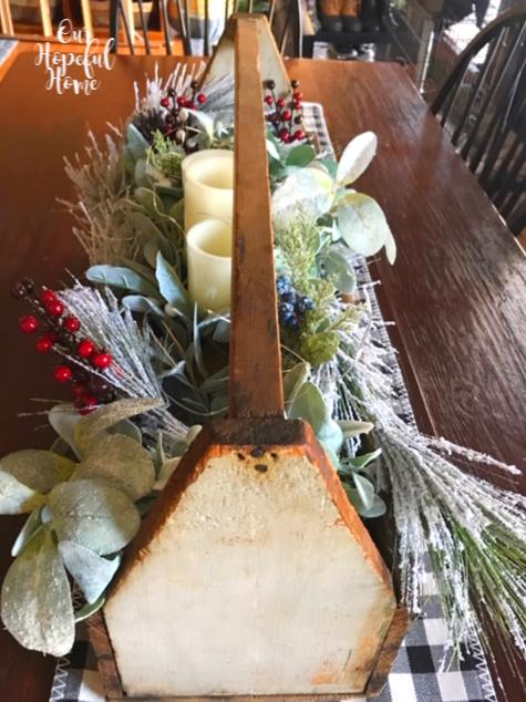 farmhouse table kitchen Christmas centerpiece