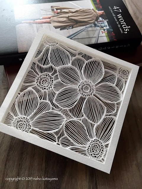 Layered Floral Paper Cutting, white in square frame