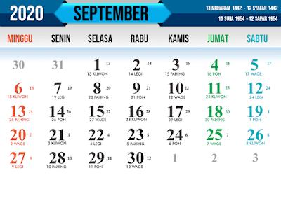 Contoh Kalender Nasional tahun 2020