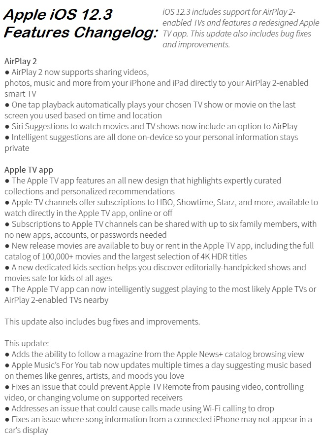 Apple iOS 12.3 Features Changelog