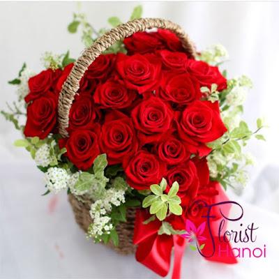 Red rose heart shaped arrangement delivered Hanoi