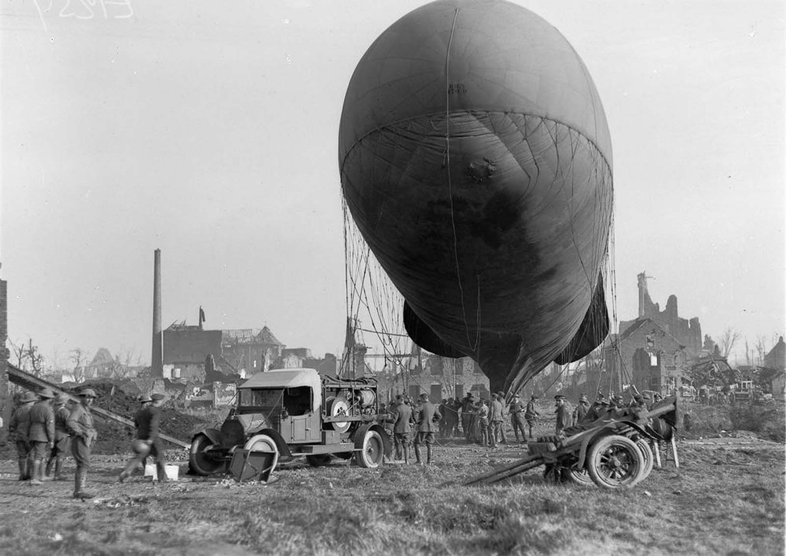 An observation balloon is prepared for ascent in Ypres, Belgium. 1917.