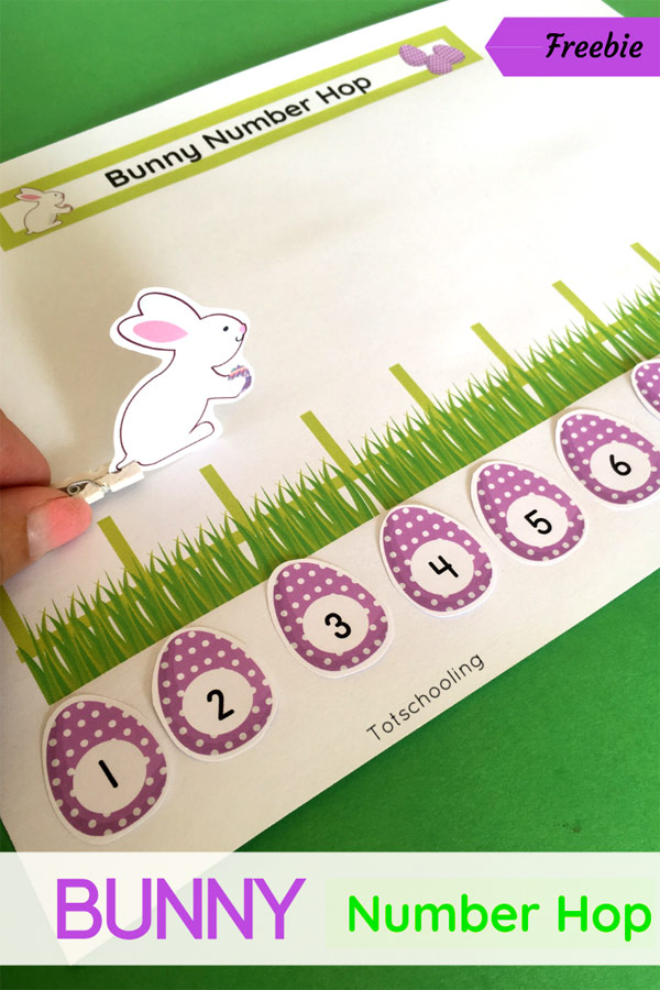 FREE printable Easter Bunny activity for preschool and kindergarten kids to practice number sense, counting and one-to-one correspondence. Fun and hands-on early math activity, perfect for Easter!