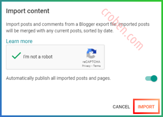Restore Contents In Blogger Step 3