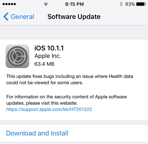Apple iOS 10.1.1 Features