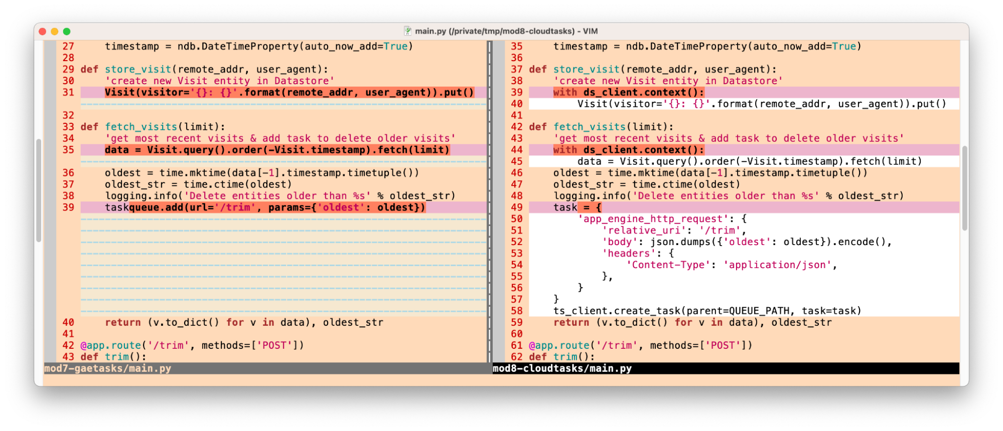 Screenshot shows primary differences in code when switching to Cloud NDB & Cloud Tasks