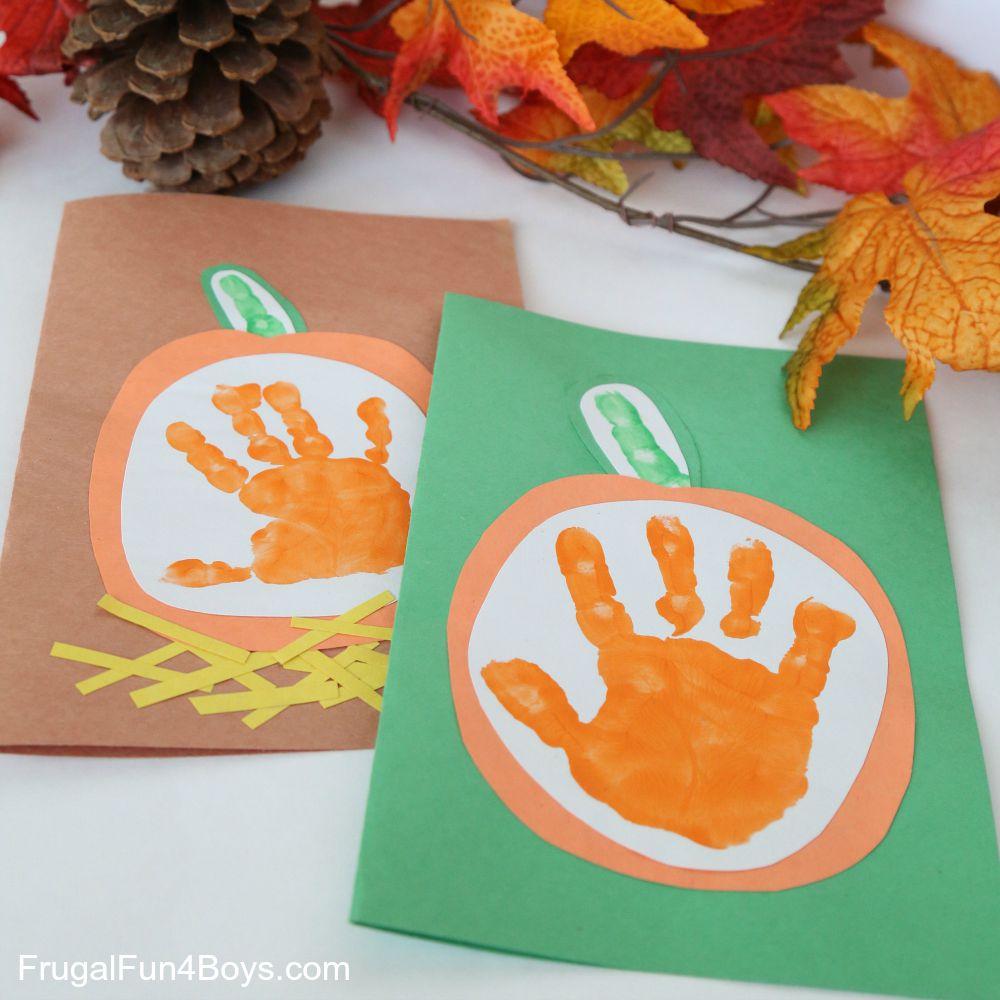 pumpkin handprint craft for kids