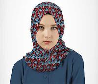 Alfamind Kerudung Hijab Pashmina Motif Biru Merah Aitana ANDHIMIND