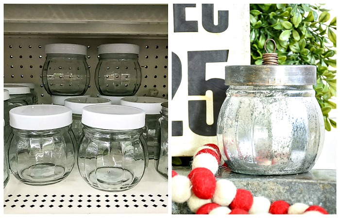 Dollar Tree candy jar mercury glass ornaments