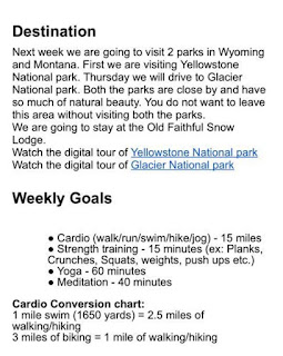 Destination and weekly goals