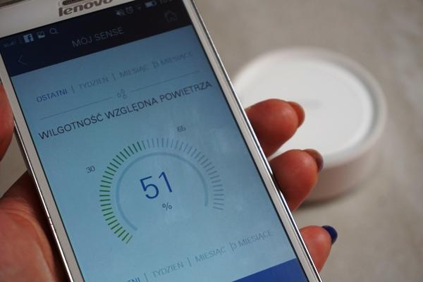 Aplikacja grohe sense - wilgotność powietrza