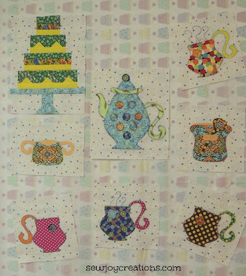 tea party applique tea cup blocks bright whimsical quilt blocks