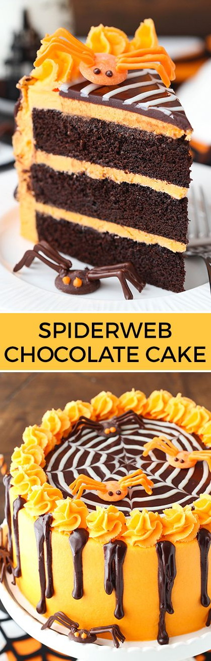 Spiderweb-topped Chocolate Cake with Vanilla Frosting