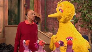 Kareem Abdul Jabbar shows Big Bird subtraction with four birds. the Word on the Street Subtraction, Sesame Street Episode 4323 Max the Magician season 43