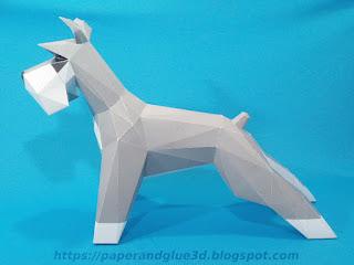 Amantes de los perros esculturas de papel o papercraft.