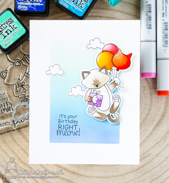 Cat with Balloons Birthday Card by Tatiana Trafimovich | Newton's Birthday Balloons Stamp Set by Newton's Nook Designs #handmade #newtonsnook