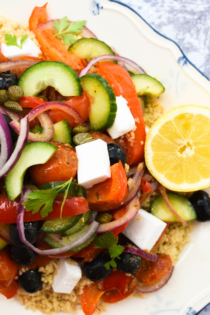 A close up of roasted vegetable salad