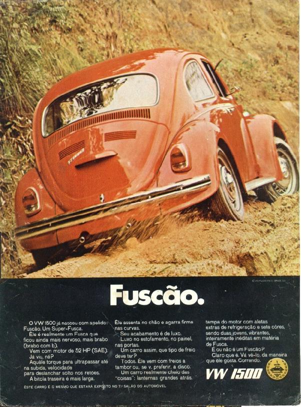 Propaganda antiga da Volkswagen para promover a potência do Fusca no começo dos anos 70